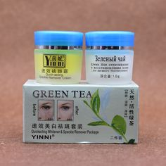 YINNI té Verde contra pecas cuidado de la piel crema para blanquear la cara quitar pigmento 2 en 1