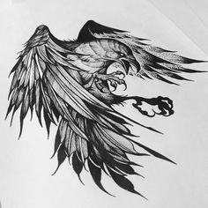 Image may contain: drawing Black Eagle Tattoo, Black Tattoos, Norse Tattoo, Viking Tattoos, Tattoo Sketches, Tattoo Drawings, Raabe Tattoo, Mononoke, Eagle Art