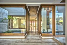 Image 3 of 23 from gallery of Twin Courtyard House / Charged Voids. Photograph by Purnesh Dev Nikhanj House Layout Plans, House Layouts, House Plans, Dubai Architecture, Interior Architecture, Exterior Design, Interior And Exterior, Main Entrance Door, Main Door