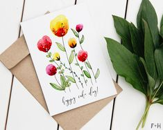 Download these 2 hand-painted watercolor birthday cards to celebrate a birthday! With two designs, these lovely cards are perfect for mom, your sister, your grandma and anyone else who loves watercolor florals.