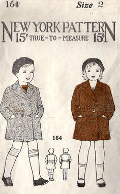 1930s Childs Double Breasted Coat Vintage Sewing Pattern, New York Pattern 164 Size 2 chest 21 inches. $12.00, via Etsy.