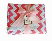 Pink Chevron Stripe Cotton Chenille Baby Girl Blanket