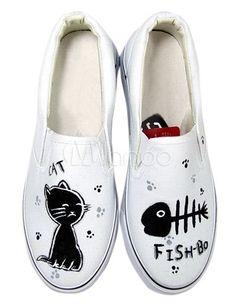 Weiße Handbemalte Schuhe mit schwarzem Katzen- und Fischmuster - Milanoo.com