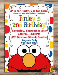 ELMO Invitation Elmo Invitation Elmo Birthday Invite Sesame Street