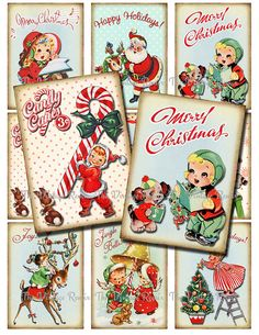 INSTANT DOWNLOAD, Printable Christmas Tags, Digital Collage Sheet, Retro Vintage DIY Gift Tags, Labels, aceo atc on Etsy, 2,80€