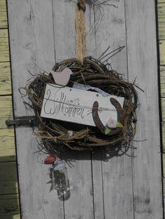 Handgefertigter Türkranz-Hufeisen-shabby- Landhaus-rosa-Vogel-Blume-Sommer-Haustüre-Dekoration-Shop Haus No.7-Dawanda 28€