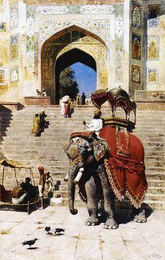 Real elefante en la entrada de la Jami Masjid, Mathura