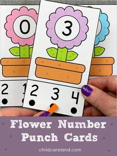 Flower number punch cards for number recognition and fine motor development. Early Learning Activities, Number Activities, Classroom Activities, Phonics Worksheets, Kindergarten Worksheets, Baby Reflexology, Phonemic Awareness Activities, Flower Alphabet, Fun Math
