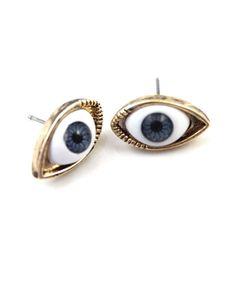 Golden Ear Studs With Dark Blue Eyes Evil Eye Earrings Women S