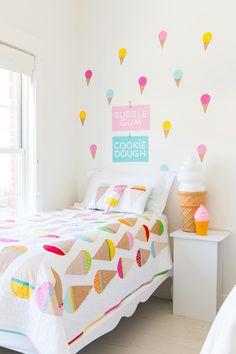 ice cream quilt pattern / ann kelle fabrics via Bedroom Themes, Girls Bedroom, Bedroom Decor, Cute Home Decor, Cheap Home Decor, Cream Room, Cream Decor, Pastel Nursery, Cool Kids Rooms