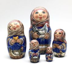 """Russian nesting doll (stacking doll) or Matryoshka doll is a set of dolls decreasing in sizes placed one inside another. The word """"mah-tr-o-sh-kah"""" is related to the old Russian wordmat, meaning """"mother"""".   eBay!"""