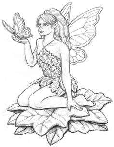 fairy with butterfly pencil drawing - Drawing To Colour