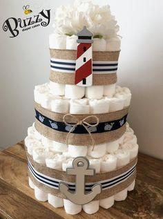 Burlap Nautical Diaper Cake, Nautical Baby Shower, Ahoy It's a Boy, Shower…