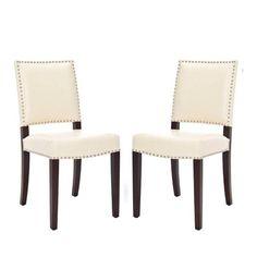 Safavieh Benjamin Cream Leather Nailhead Dining Side Chair - Set of 2 - MCR4556K-SET2