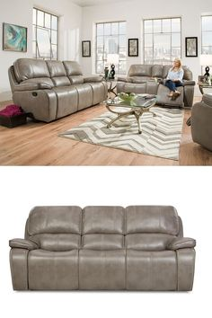 The Jamestown Smoke from Corinthian is the perfect sofa to kick back and settle into when you are relaxing binge-watching your favorite television program or sporting event. Family-friendly long-wearing polyurethane fabric with Full padded arms and nailhead trim makes this one of our best-selling motion sofas. The reclining sofa is a full ninety-two inches wide with a dept of forty-one inches and an overall height of forty-two inches. #gahs #motion #recliner #sofa #interiordesign #homedecor