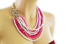 Pearl Necklace with Fuchsia Pink Weddings by PearlJewelryNecklace, $134.00
