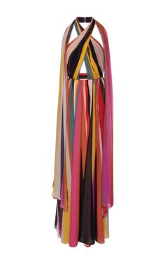 Striped Halter Neck Maxi Dress by ELIE SAAB for Preorder on Moda Operandi