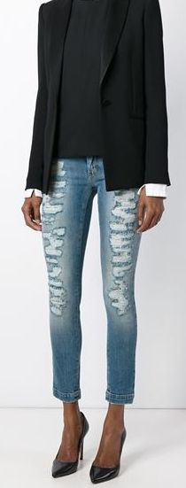 Casual and Classy! Get these DOLCE & GABBANA Distressed Lace Skinny Jeans from @marissanaples & earn 3% CASH BACK when you shop with DealAction!