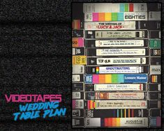 Eighties Inspired Videotapes VHS Wedding Guest Table Seating Plan - Sizes Name Cards, Thank You Cards, Wedding Guest Table, Order Of Service, Table Names, Table Seating, Table Plans, One Design, Save The Date Cards