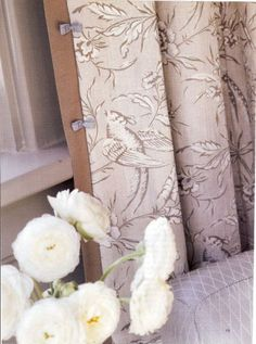 """Great article on """"dressmaker details""""  ....How sweet are the tiny lilac bows on these curtain flanges? Details such as these are the reason that well-crafted interiors feel rich with life and grounded in warmth."""