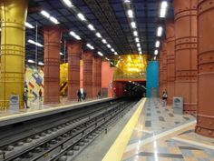 Olaias Metro Station in Lisbon, Portugal is one of the Coolest Subway Stations Around The World - via The Huffington Post Lisbon Hotel, Metro Station, World's Most Beautiful, Lisbon Portugal, Art And Architecture, Continents, Places To Visit, Around The Worlds, The Incredibles
