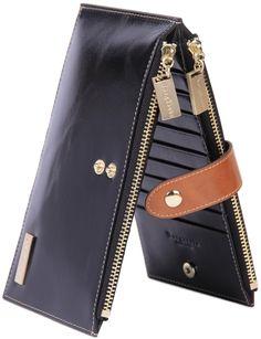 Borgasets Women's Genuine Leather Zipper Wallet Card Case Men's Purse Black