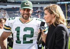 Aaron Rodgers being interviewed after the Bears game by Erin Andrews 9/13/2015