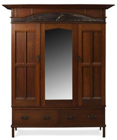 "English Arts and Crafts wardrobe, made by Harris Lebus, knock down form with a copper repousse panel depicting sail boats, 70""w x 25.5""d x 86""h  
