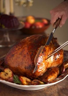 Recipe for Cider Brined Turkey. Soaking the turkey in a saltwater brine produces tender, juicy meat, but the pan drippings may be a bit salty for making gravy. You can still prepare a delicious gravy by using our turkey gravy base. Thanksgiving Blessings, Thanksgiving Feast, Thanksgiving Recipes, Thanksgiving Celebration, Fall Recipes, Holiday Recipes, Dinner Recipes, Turkey Brine, Roasted Turkey