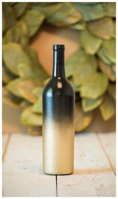 Wine Bottle Black and Gold Glitter Wedding Centerpiece Vase Candles