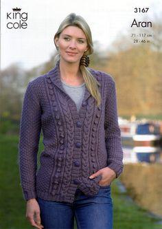 Cardigan and Waistcoat in King Cole Merino Blend Aran (3167) | Womens Knitting Patterns | Knitting Patterns | Deramores