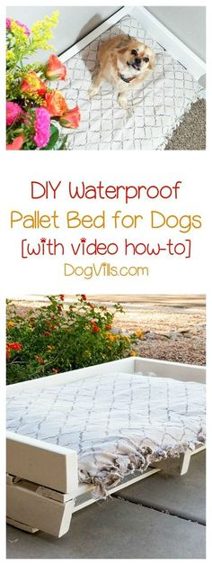 Looking for the perfect waterproof bed for your pooch that doesn't cost a fortune? Check out this homemade dog bed using pallets & get crafting! Diy Lit, Paralyzed Dog, Pallet Dog Beds, Pallet Lounge, Diy Dog Bed, Homemade Dog Bed, Outdoor Dog Bed, Dog Pads, Yorky