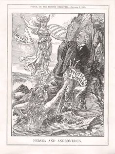 Punch, 1908: Persea and Andromedus. In this anti-suffrage cartoon, women opposed to suffrage attack (and defeat) the suffragettes.