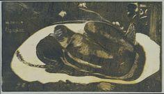 Paul Gauguin | Liggend meisje bang voor geesten van overledenen, Paul Gauguin, Louis Roy, 1894 | Een meisje ligt met opgetrokken knieën op een kleed en houdt angstig haar handen voor haar gezicht omdat zij bang is voor de geesten van overledenen. Volgens het geloof van de Maoris tonen de geesten zich in lichtflitsen en deze heeft de kunstenaar drie weergegegeven tegen de donkere achtergrond.