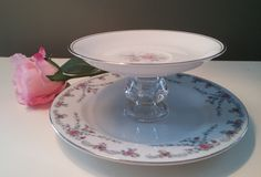 Floral China Plate with Silver Accents on Glass Pedestal, Tea Cup Stand, Trinket Dish, Jewelry Holder, Shabby chic, Feminine Decor by Not2ShabbyByMarilyn on Etsy https://www.etsy.com/listing/196870369/floral-china-plate-with-silver-accents