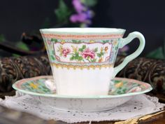 Adderley Bone China Teacup, Tea Cup and Saucer, Vintage Cup Green Trim