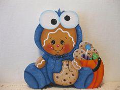 HP Gingerbread Halloween cookie monster SHELF SITTER hand painted USA