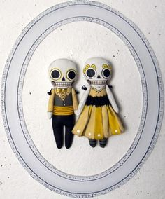 Halloween Day of the Dead Skeleton Doll Ornament- Contemporary Folk Art Sculpture- Hand Painted Original- Made to Order within a Week. $55.00, via Etsy.