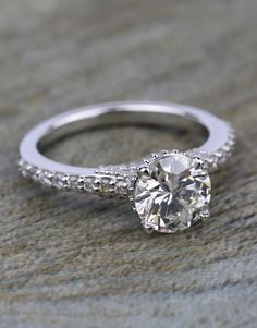 Would you say YES to this Custom Diamond Collar Engagement Ring in Platinum?