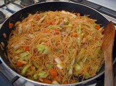 Chicken Pancit Canton Recipe--close to what my great friend Brenda taught me to cook many, many years ago. However, I don't use oyster sauce and a few other variations...Makes me want to have some asap w/some lumpia both meat and maybe some cheese lumpia too.  All homemade of course. :) Philippine style.