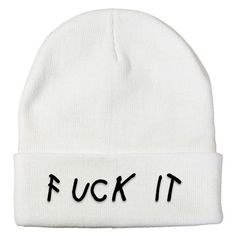 Fuck It Beanie ($35) ❤ liked on Polyvore featuring accessories, hats, knit beanie hats, beanie hats, embroidered beanie, embroidery hats and knit hats