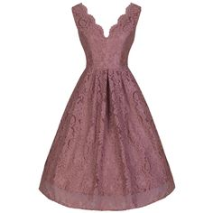 Dusky Pink Lace Embroidered Dress