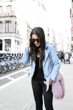 Weekend Pastels :: Blue suede jacket & Loafer mule :: Outfit ::  Top :: BlankNYC jacket | Express choker top Bottom :: Citizens of Humanity Shoes :: Marc Fisher Bag :: Louis Vuitton Accessories :: Karen Walker sunglasses | DIY scarf from fabric store scraps Published: April 7, 2017