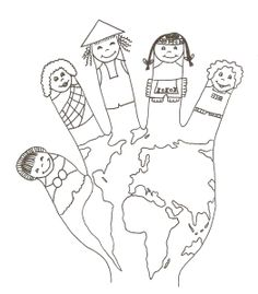 World hand puppet coloring sheet Around The World Theme, Kids Around The World, Coloring Sheets, Coloring Books, Coloring Pages, Preschool Education, Preschool Activities, Harmony Day, Cultures Du Monde