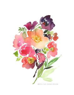 Bouquet of Poppies Watercolor Art Print by YaoChengDesign on Etsy, $25.00