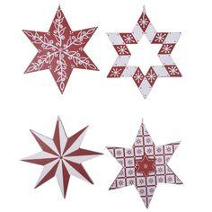 Birchcraft Set of 4 Hanging Star Decorations