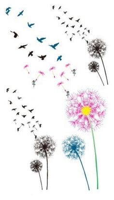 Color the dandelion birds Temporary Tattoo6pcs in 1 by NiceTatoos