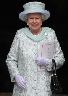 Wearing 'Granny's Chips'! - Diamond Jubilee - Service Of Thanksgiving...one of my favorite outfits on her, i love the color