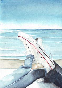 Original watercolor painting pale white converse blue by HelgaMcL http://etsy.me/SUkp9p $20.00