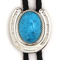 Horseshoe Bolo with Large Turquoise Stone at Maverick Western Wear